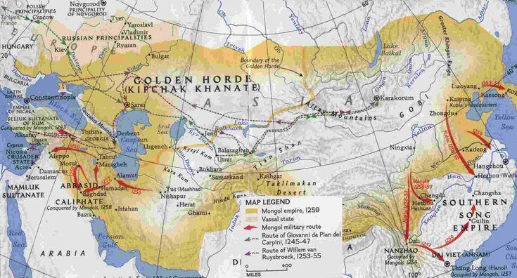 mapsontheweb:  Map of the Mongol Empire under Kublai Khan, 1259 AD