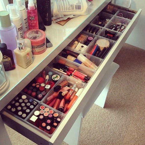 Organize your make-up in drawers with plastic dividers.