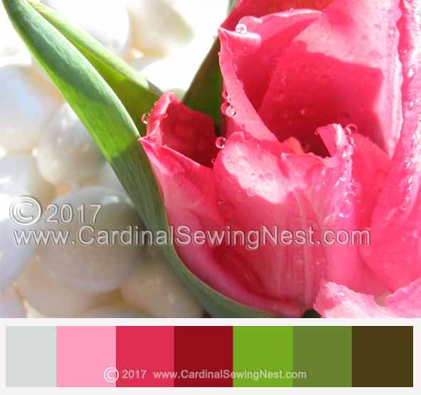 Chromotherapy. Pink green white color palette