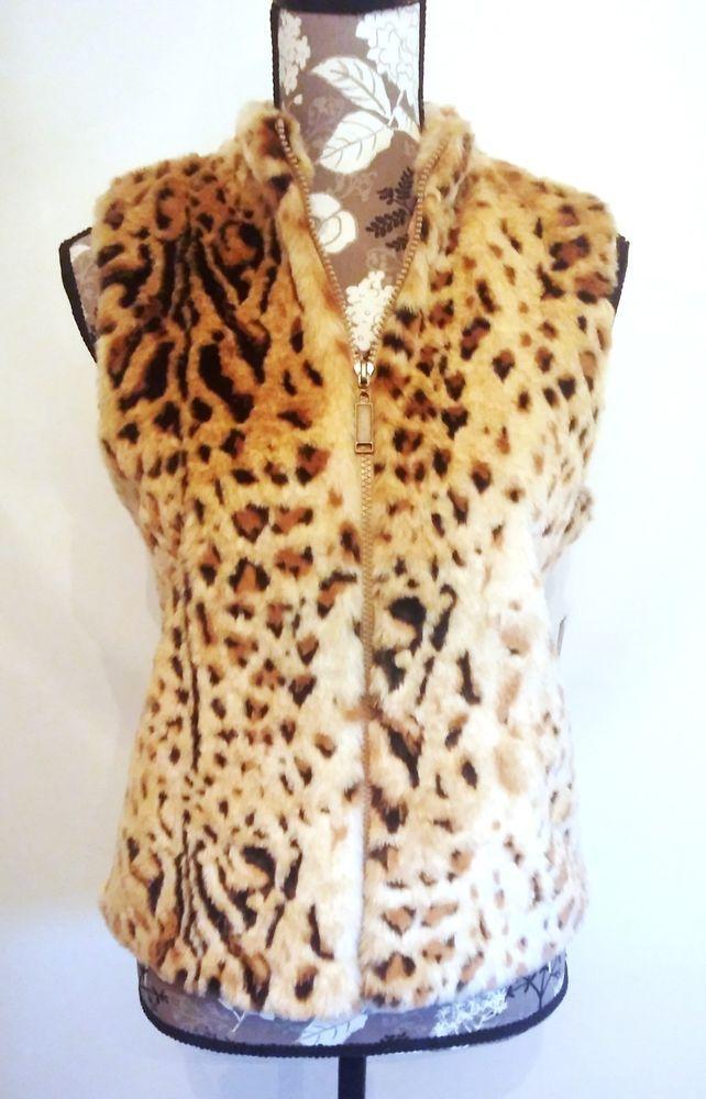 Faux Fur Vest Baby Panther Sleeveless Knit Back Womens Size Petite Medium PM #DesignersOriginals #Vest