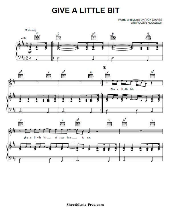 Give A Little Bit Sheet Music Supertramp Sheet Music Sheet