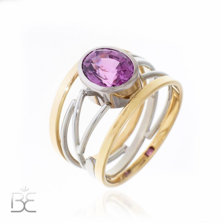Yellow and white gold, contemporary dutch design jewelry, hot pink sapphire. Handmade by Sabine Eekels