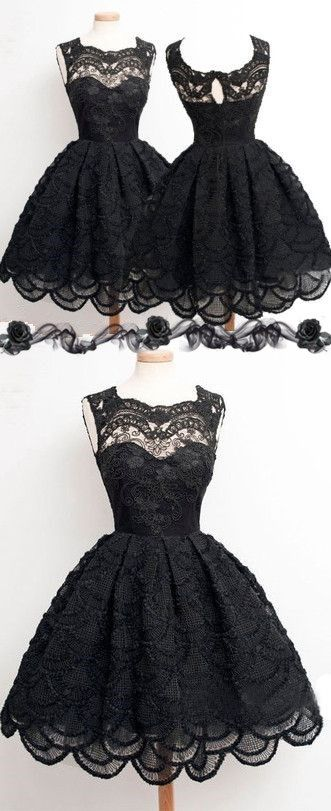 Vintage black lace homecoming dress, short sleevelessprom prom dresses, sexy…