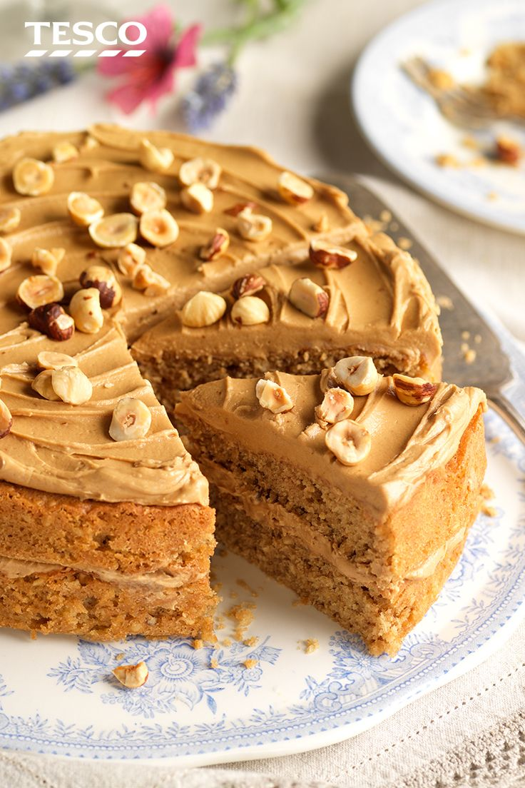 We've swapped out the walnuts for hazelnuts in this spin on a coffee and walnut cake recipe - perfect as an afternoon tea treat or a celebration cake. | Tesco