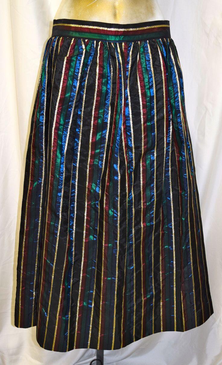 Vintage Black, Green, Blue, Gold & Red Formal Skirt