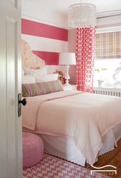 cute pink bedroom stripe wall design girl children kid bedroom idea rh pinterest ie