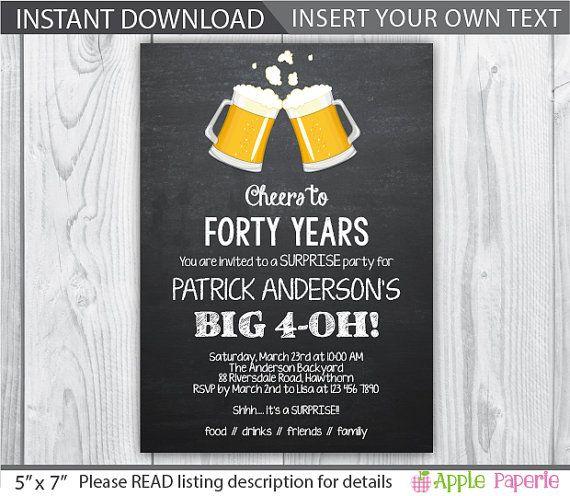 40th birthday invitation / 40th birthday by ApplePaperie on Etsy