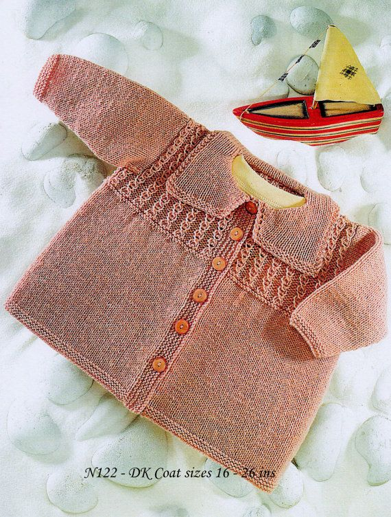 Baby Matinee Jacket / Coat  Instructions for DK  8 by CheapKnits4u