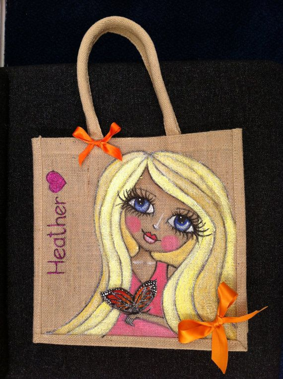 Illustrated Jute Bag Hand Painted and by BelleArtisanUK on Etsy