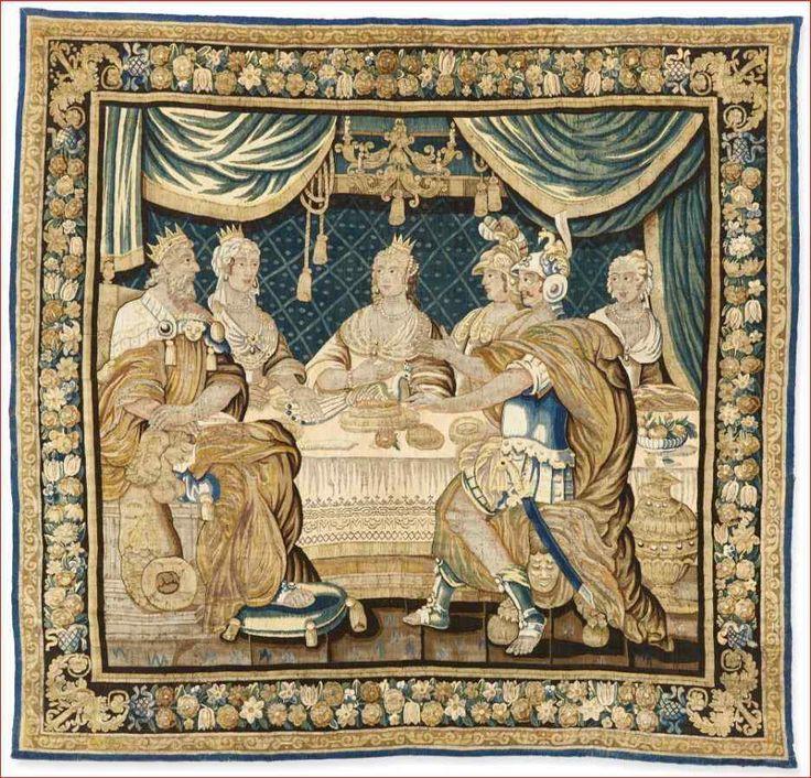Tapisserie Aubusson époque XVIIe - Le Banquet d'Alcinous
