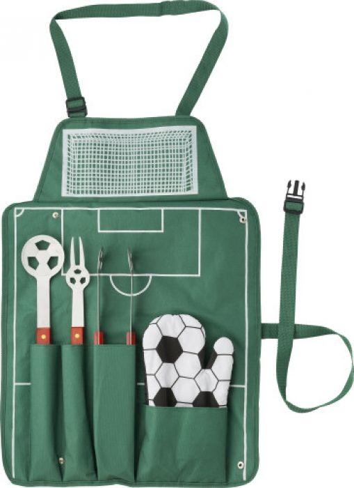 BBQ set bestaande uit schort met leuke voetbalgerelateerde accessoires. - Bbq & grill - Relatiegeschenken