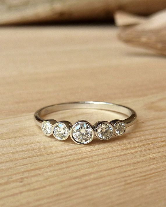 Petite 5 Stone Bezel Set Diamond Band by kateszabone on Etsy, $1295.00