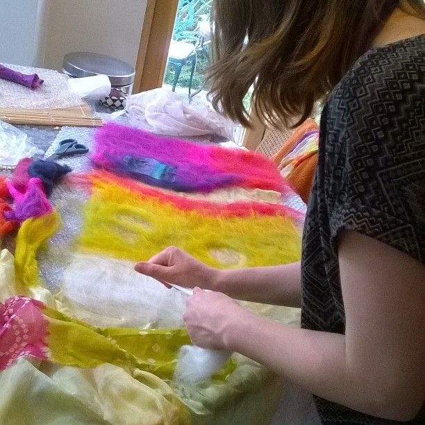 Claire loves a bit of colour when laying out her fibres at a nuno felting workshop.