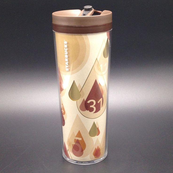 Starbucks Numbers Brown Drops Travel Tumbler 2012 2013 Coffee Refill Cup 16oz #Starbucks