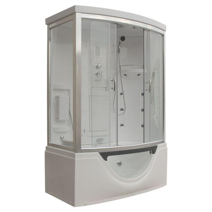 Steam Planet Hudson 59 in. x 33 in. x 88 in. Steam Shower Enclosure Kit with Whirlpool Tub with Right Hand Drain in White