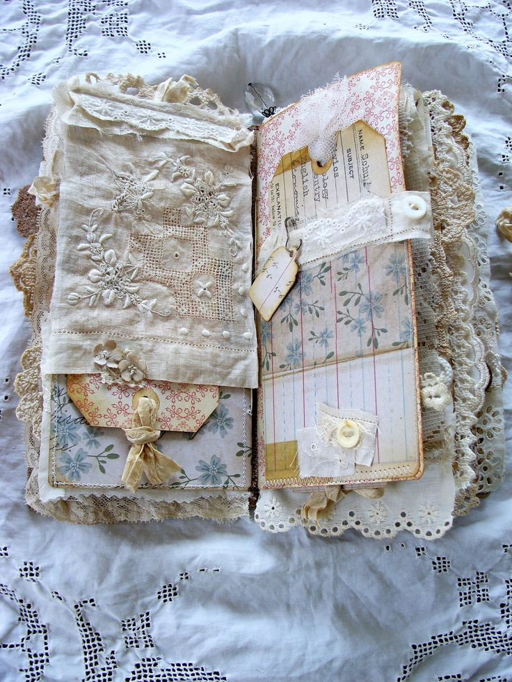 Handmade travelers notebook stuffed full of old linen and lace... Iv used soft brown leather for the cover embellished with a simple rhinestone charm to the spine and a bookplate that holds a snippet of vintage linen. Notebook Is held closed with a leather medallion and silk sari ribbon. The ribbon closure and rhinestone charm can be taken off. Inside you will find 3 inserts. In each insert Iv incorporated Tim Holtz Memoranda papers, tissue tape, various ephemera, trinket pins, numbered…