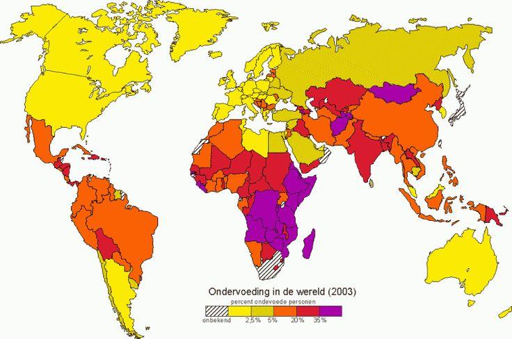 Op deze kaart kunnen we zien hoeveel miljoenen mensen op de aarde aan ondervoeding leiden. we merken vooral op dat de meeste aan honger leiden ofwel in Afrika ofwel in Zuid-Azië leven.