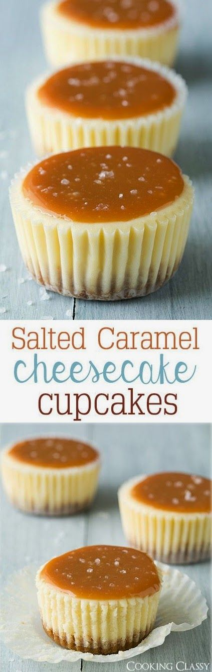 Cheesecake Cupcakes {With Strawberry or Salted Caramel Topping} - The Best Recipes of 2015