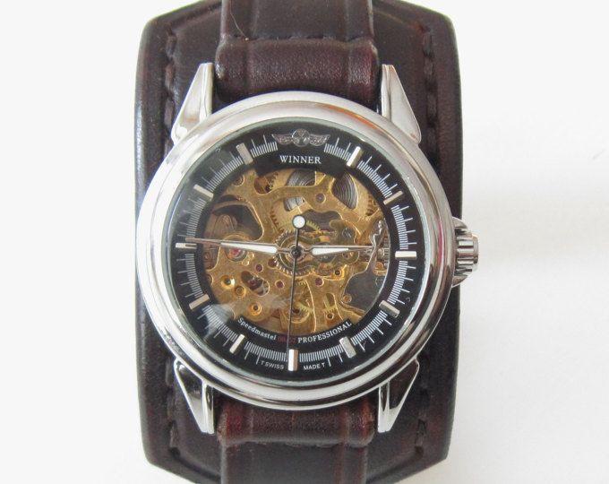 Steampunk de cuero reloj brazalete, reloj de pulsera de cuero, reloj, reloj de cuero de los hombres, reloj de pulsera, reloj de pulsera de los hombres