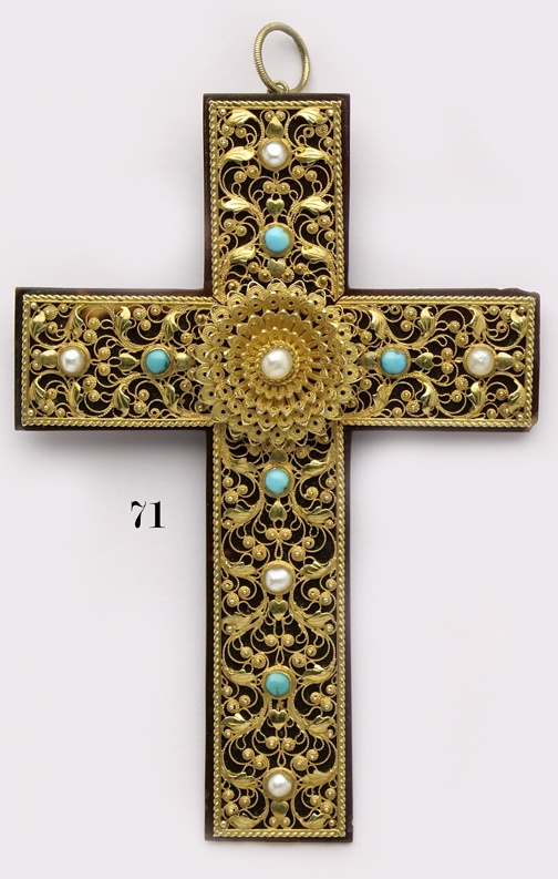 Turquoise, natural pearl, tortoiseshell and gold filigree cross.- Victorian