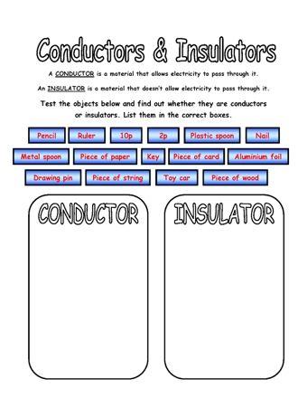 Thermal conductors and insulators ks2 worksheet
