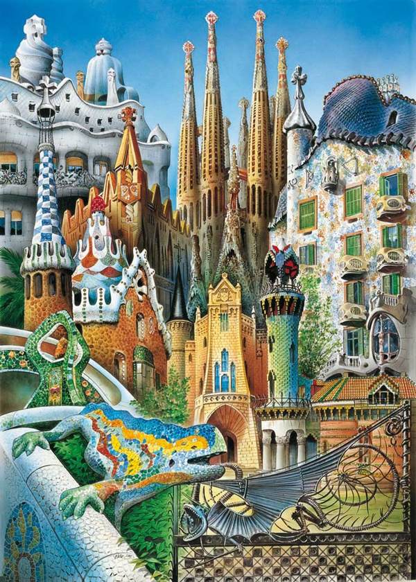 Collage gaudi 1000pc miniature jigsaw puzzle by educa miniature collage and jigsaw puzzles - La casa del puzzle madrid ...