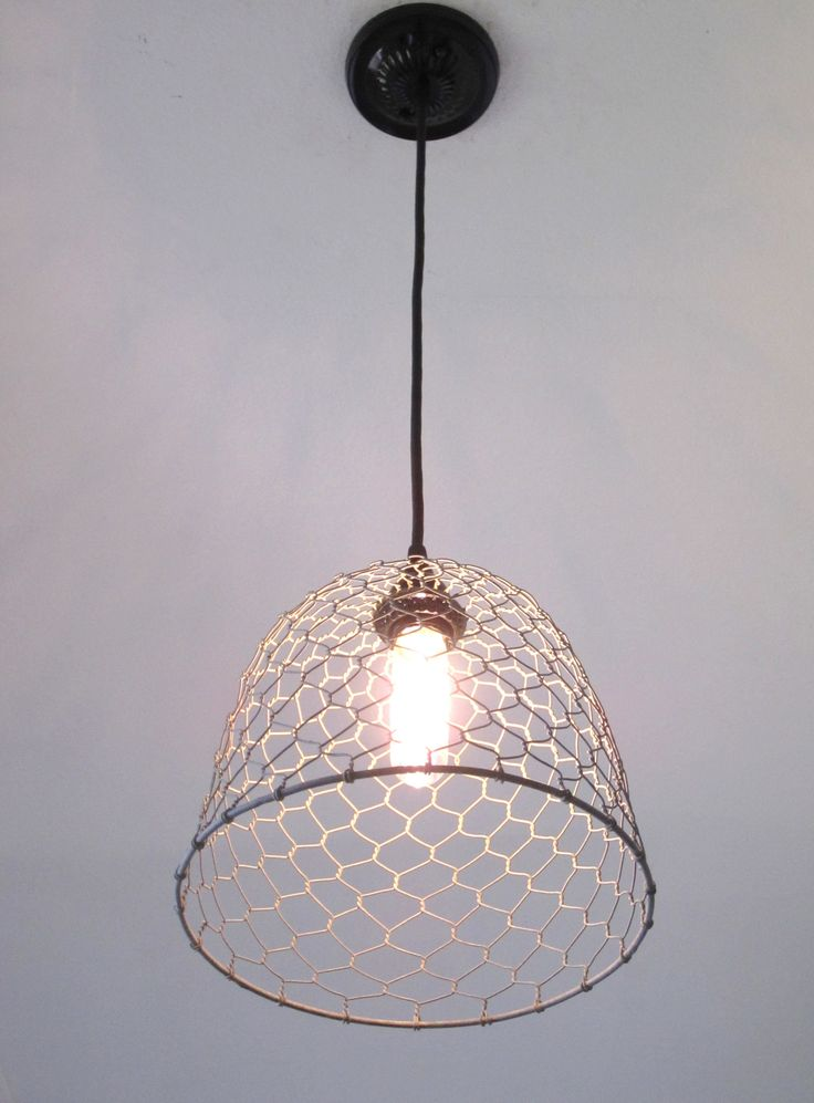 "What a light!! Made with a grey galvanized type wire that looks just like an old chicken coop. This would make a great addition to any kitchen, laundry room, mudroom, barn, etc. The dome is 10"" in dia"