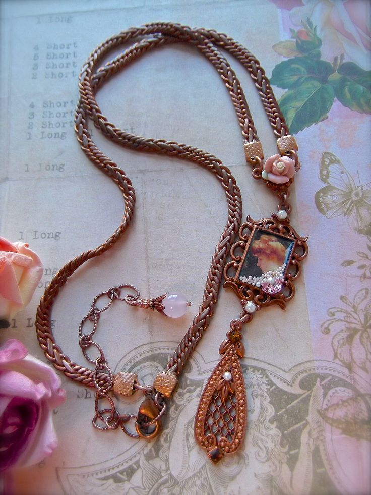 """FUF4/14 """"Ginger"""" B'Sue by 1928 gingerbread pieces, no hole pearls, floor sweepings and B'Sue vintage chain and ceramic rose as well.   MockiDesigns.etsy.com"""