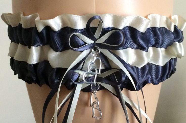 Charcoal Gray and Ivory Wedding Garter Set, Prom Garter Set