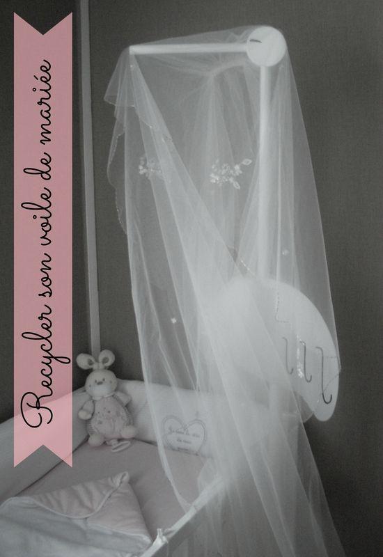 Comment recycler son voile de mariée en ciel de lit pour bébé - how to recycle wedding veil - bridal veil - baby's room idea - DIY
