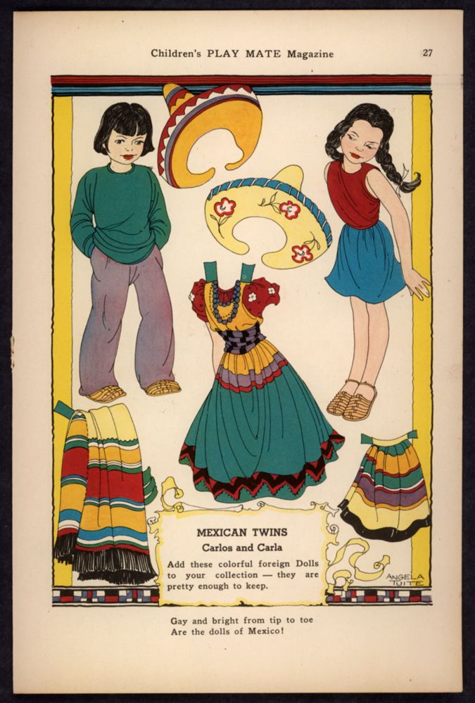 "Uncut ""Children's Play Mate"" Magazine Paper Doll Mexican Twins by A. Tuite"