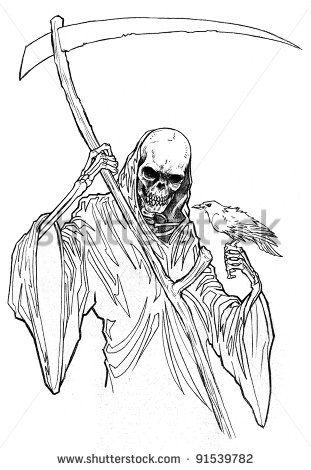 Femal Grim Reaper Line Art Bing Images Reaper Drawing