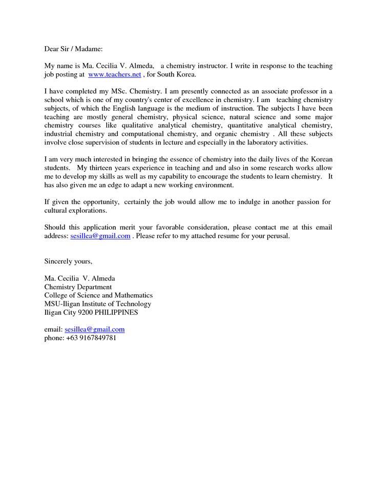 Melhores Ideias De Teaching Assistant Cover Letter No Pinterest - Science tutor cover letter