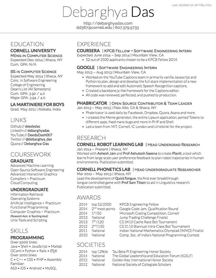 The 25+ best Latex resume template ideas on Pinterest Latex - computer science student resume