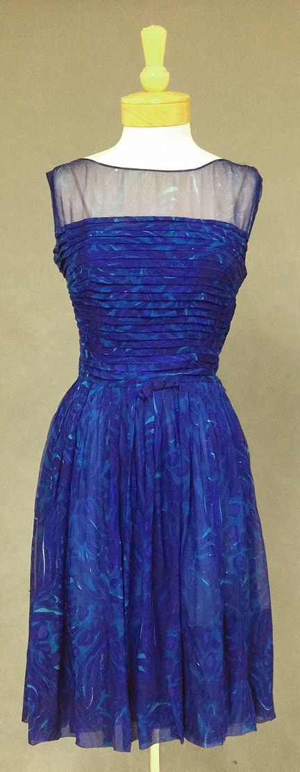 Saks Fifth Avenue Blue Watercolor Silk Chiffon 1960's Cocktail Dress - Vintageous, LLC