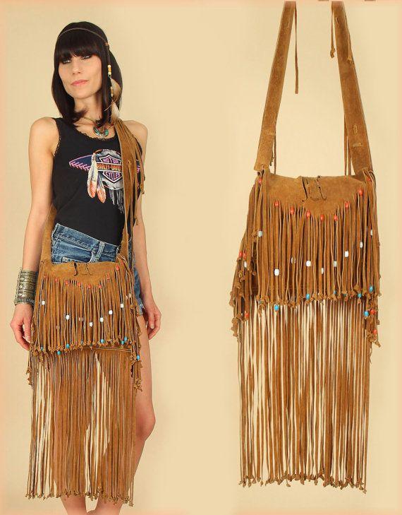 60 S Suede Fringe Bag Vintage Rare Woodstock Era Beaded Crossbody Handbag 70 S Leather Maxi