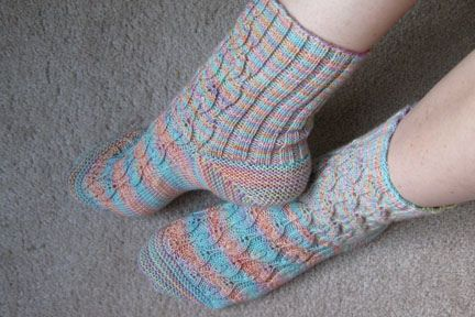 This is one of the patterns for the July 2008 Rockin' Sock Club from Blue Moon Fiber Arts.