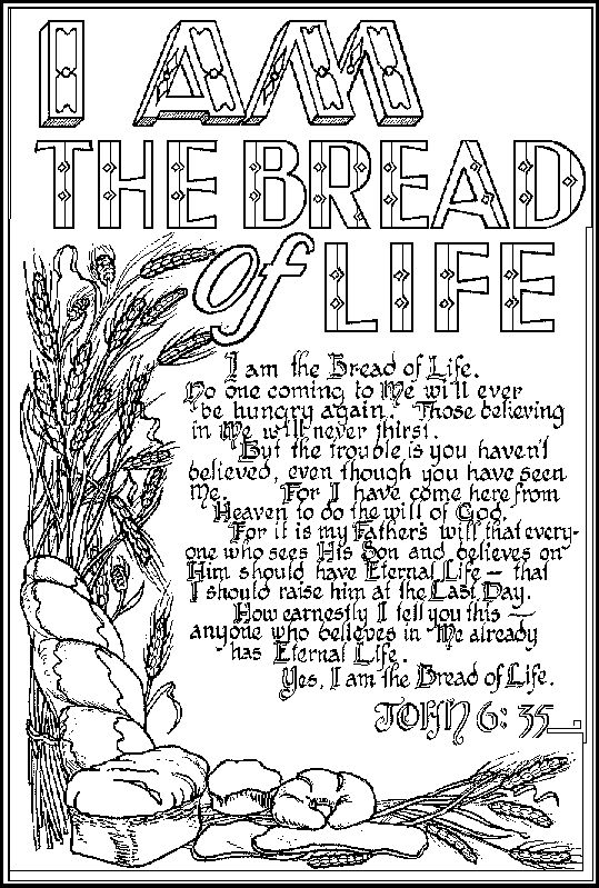 Bible Verse Coloring Pages | ... bread of life bible Jesus coloring page with John 6.35 coloring page