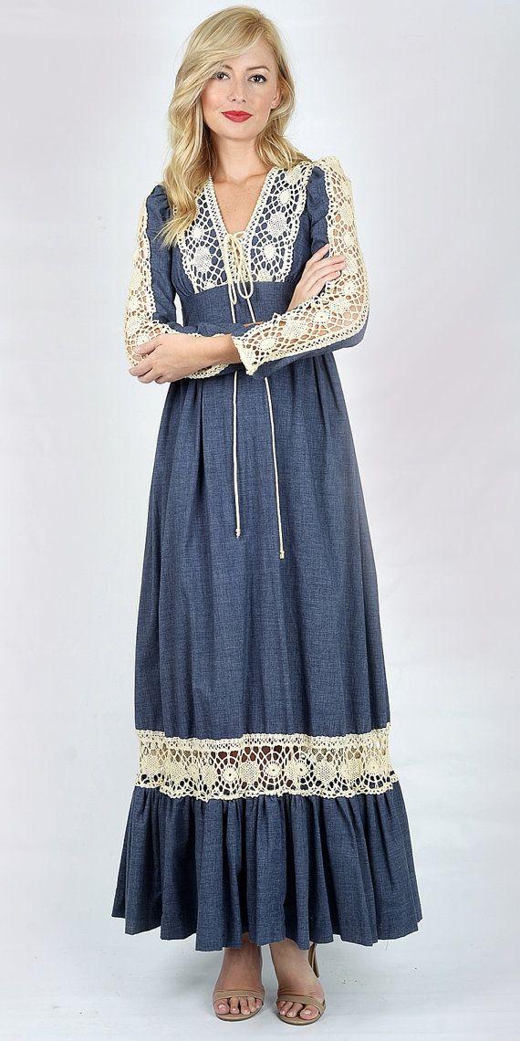 Vintage 70s Blue Hippie Boho Dress GUNNE SAX by thekissingtree [$129.00]