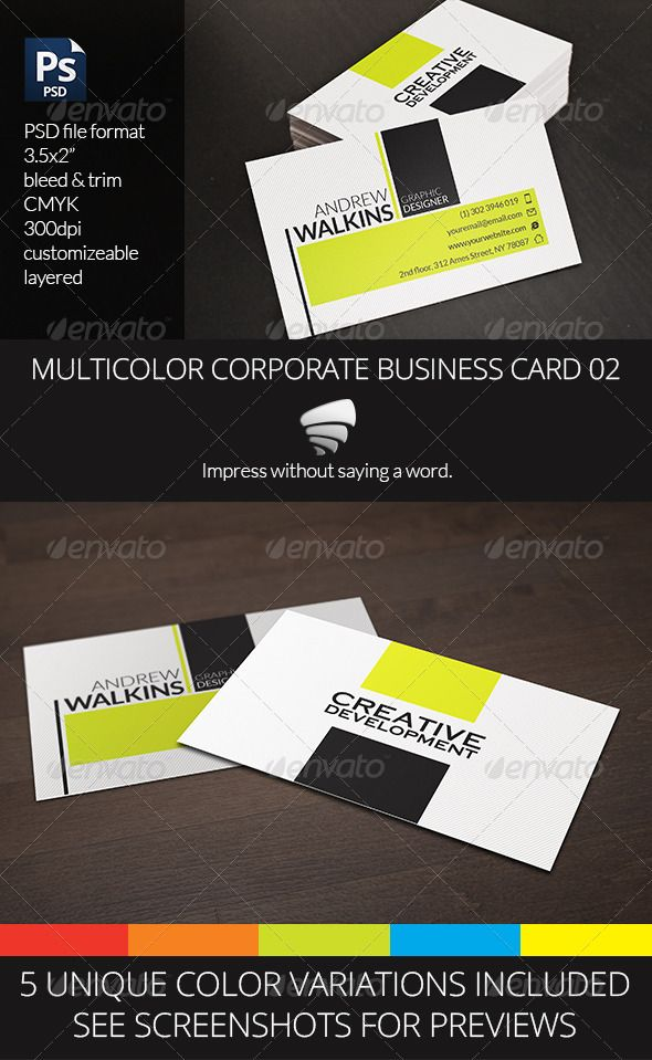 Multicolor Corporate Business Card 02 #GraphicRiver An innovative design, suitable for both corporate or creative purposes. Purchase includes 10 different PSD files, two (front and back) for each color variation. Fully editable and neatly layered. Print ready: – 3.5×2 inch (+0.25 bleed) – CMYK – 300dpi Free Font used: Lato Vortex Design. Impress without saying a word. Created: 18October13 GraphicsFilesIncluded: PhotoshopPSD Layered: Yes MinimumAdobeCSVersion: CS3 PrintDimensions: 3.5x2…