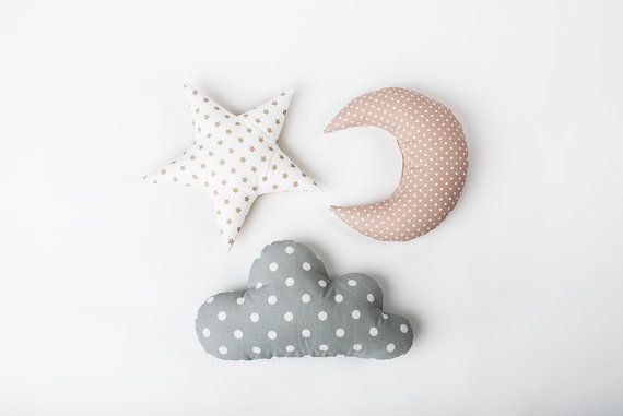 Pillow set Cloud Star Moon shaped pillow - Pastel nursery room decor - Baby gift - Kids cushion