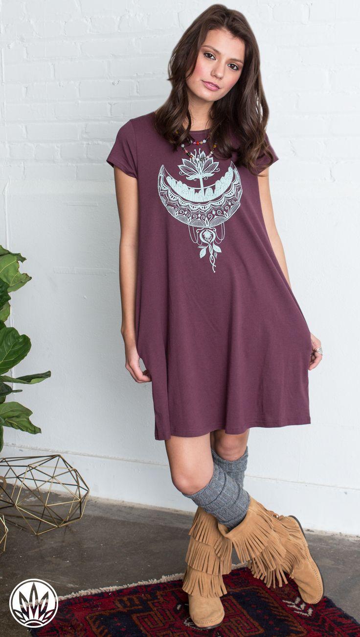 CRYSTAL MOON ORGANIC T-SHIRT DRESS   Basic T-Shirt Dress   Dress with Pockets   Soul Flower