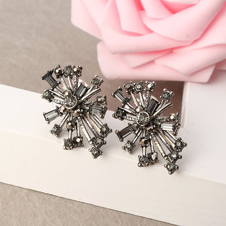 JASSY® Punk Snowflake Women Earrings Retro 18K Gold and Platinum Plated Crystal Rhinestone Ear Stud online - NewChic