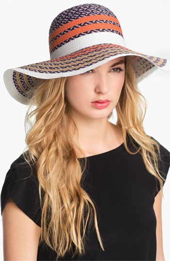 BCBGeneration Pop Stripe Floppy Sun Hat  - preventing wrinkles while looking fab.  Love!  #summer #hat @Nordstrom
