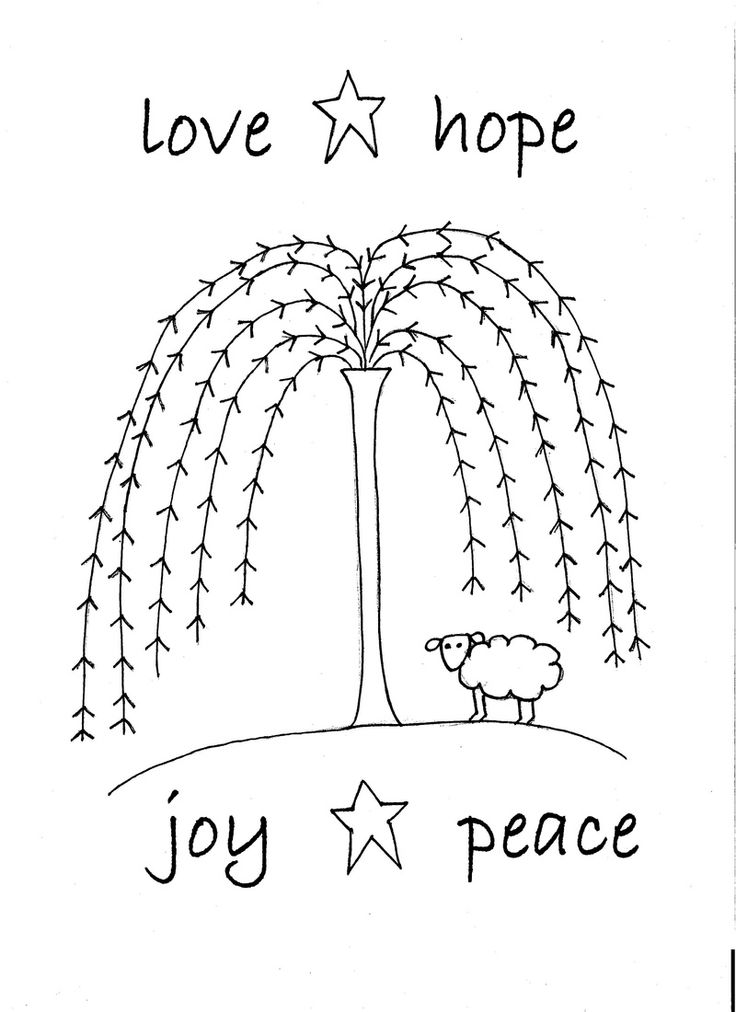 Free Primitive Embroidery Patterns | What a cute doodle of a sheep under a willow tree! It reads: Love ...