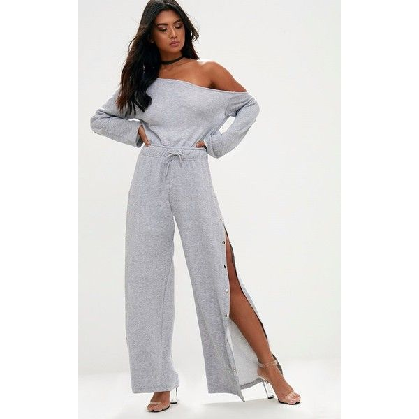 Grey Marl Loop Back Off the Shoulder Popper Leg Jumpsuit ($38) ❤ liked on Polyvore featuring jumpsuits, grey, gray jumpsuits, off the shoulder jumpsuit, off shoulder jumpsuit, grey jumpsuit and jump suit