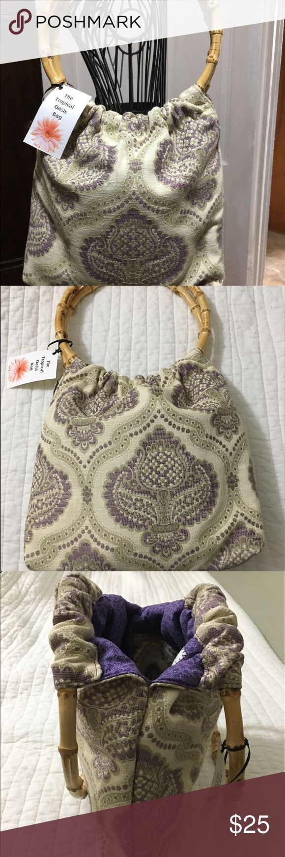 "🌴🌴The Tropical Oasis Bag🌴🌴 This purple, cream and olive bags has bamboo hoop handles.  It also has 3 open pockets and 2 pen pockets.  Handles have an 8"" drop.   🌴🌴🌴🌴🌴🌴🌴🌴🌴 daboriginals Bags"