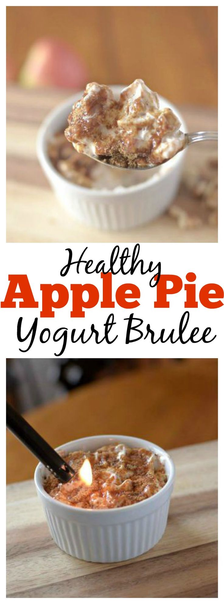 are you sick of plain old greek yogurt for breakfast? Then spice up your breakfast and try this #healthy Apple Pie Yogurt Brûlée that tastes like your favorite dessert for breakfast! Use coconut yogurt for a #vegan and #paleo version!