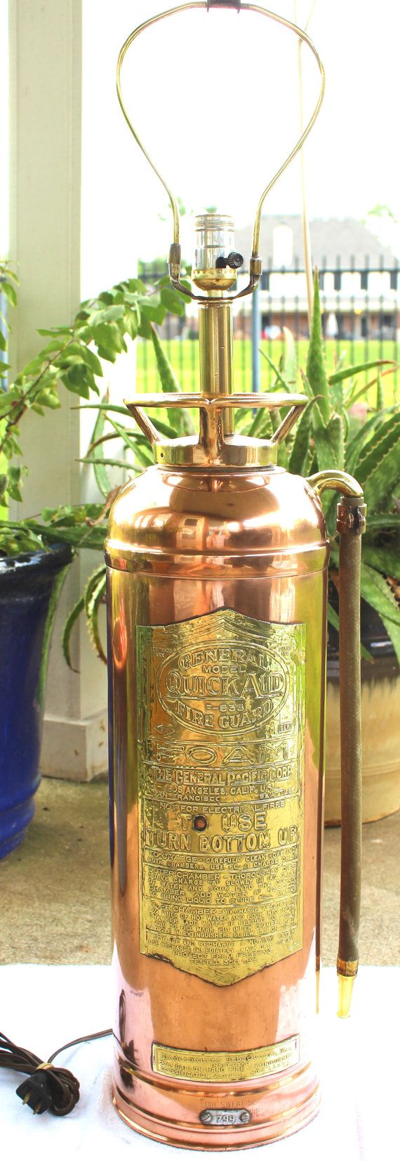 http://www.pinterhome.com/category/Fire-Extinguisher/ Vintage Fire Extinguisher Lamp Copper Brass by DecorateInVintage