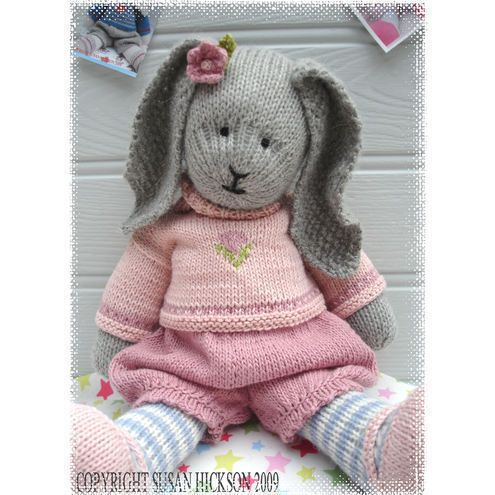 PRIMROSE RABBIT / BUNNY Knitted Toy PDF Email Pattern/ Toy Knitting Pattern